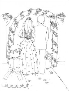 Coloriage enfants mariage