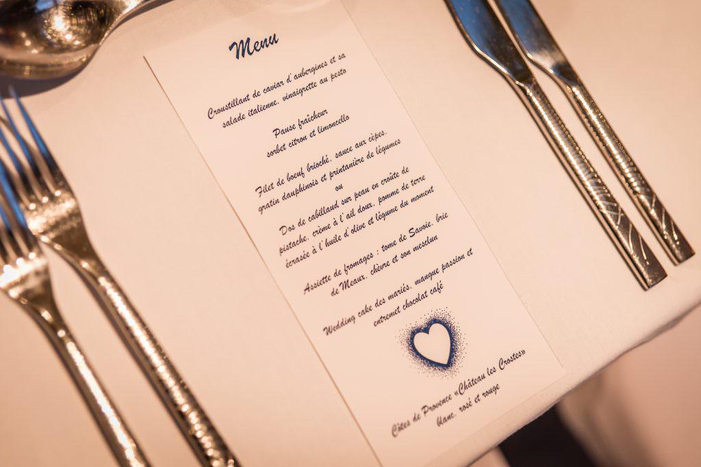 Mariage féerique - Menu de mariage- Alliance Rêvée