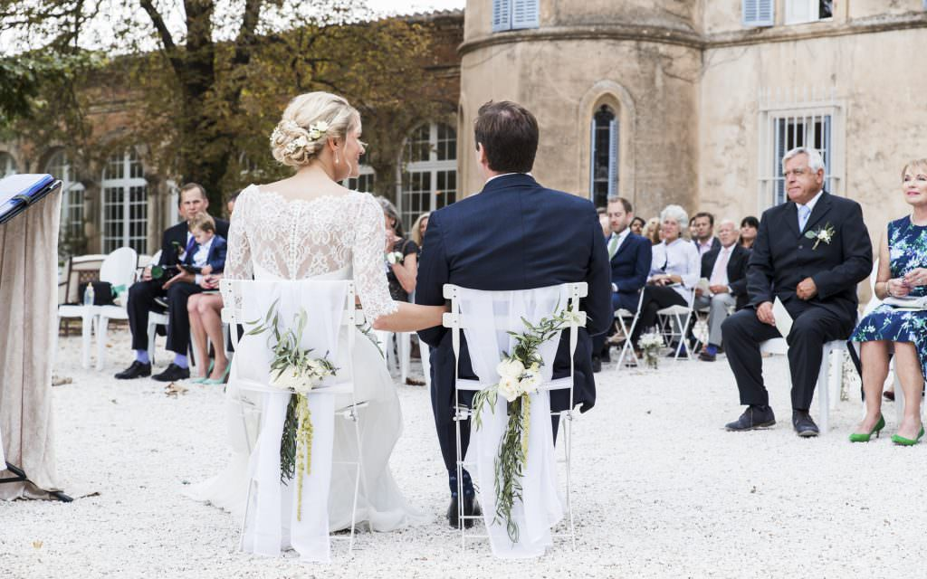 Wedding in provence-Bride and Groom's chairs decoration - Alliance Rêvée