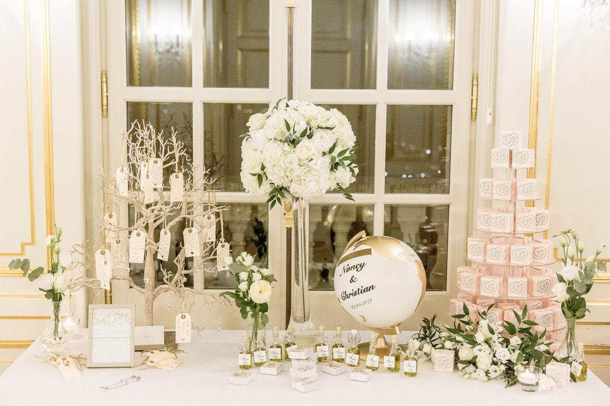 Table cadeaux d'invités, urne mape monde, arbre à voeux - Alliance rêvée