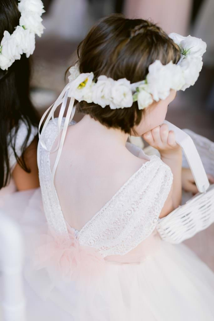 Flower crown for a child of honor at a destination wedding between the French Riviera and Provence