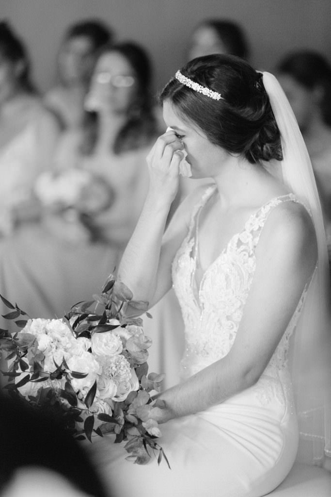 Emotion of the bride during her Destination Wedding ceremony between the French Riviera and Provence