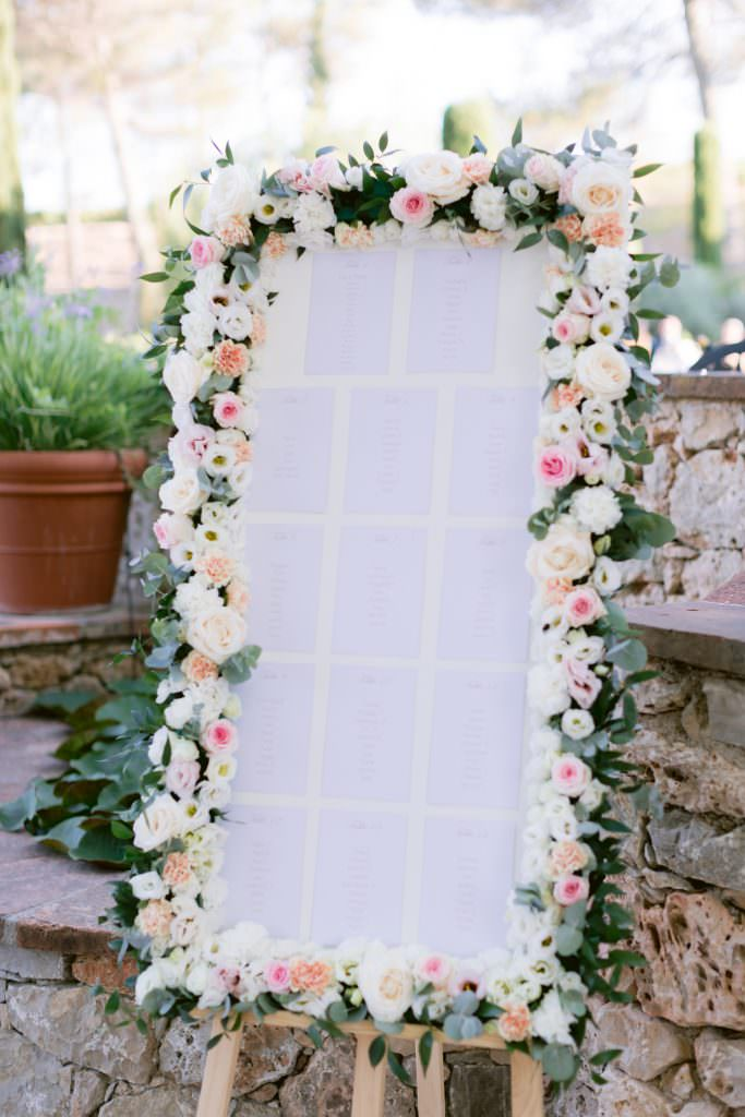 Floral wedding table plan