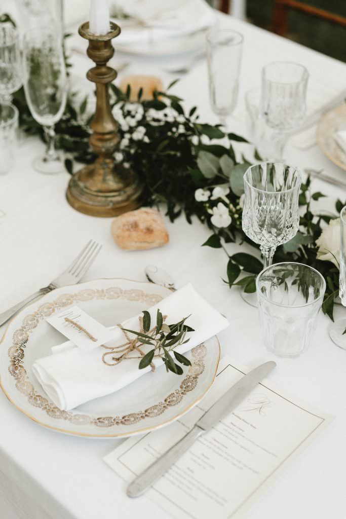 Vintage tableware in our vegetal wedding design