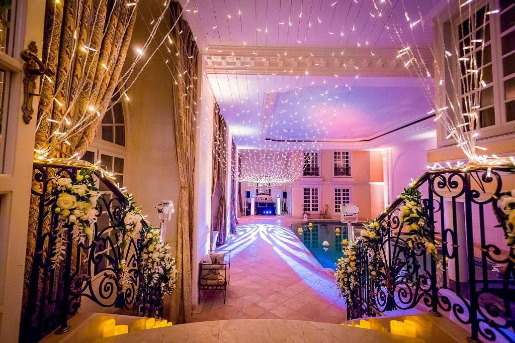 Inside pool area design with fairy light- Alliance Rêvée