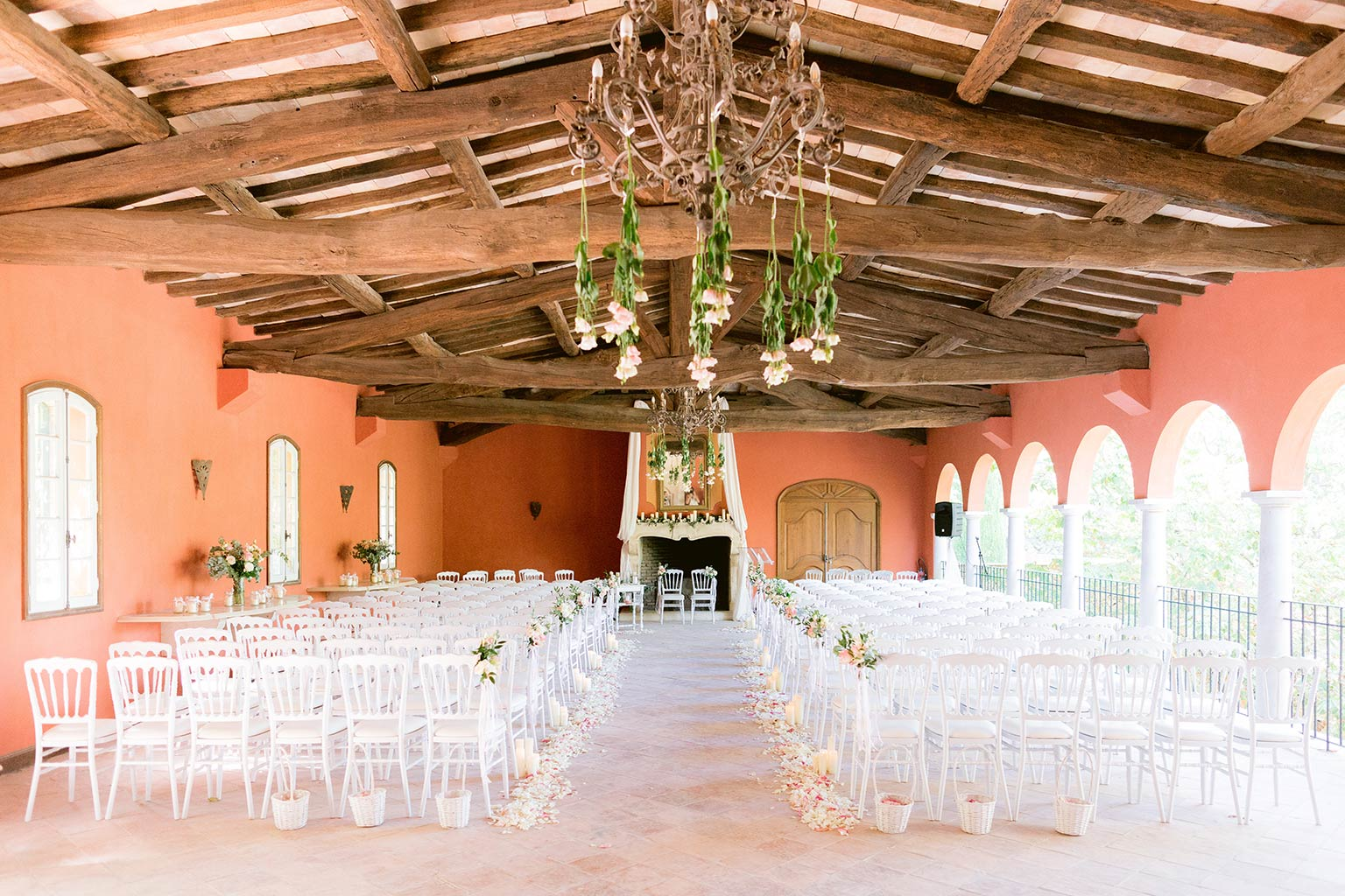 Ceremony area for a destination wedding between the French Riviera and Provence- Lea and Mehdi