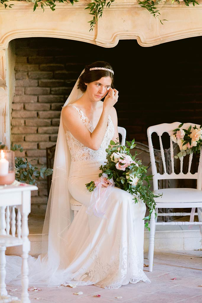 Tear of joy of the bride during her destination wedding ceremony between the french riviera and Provence