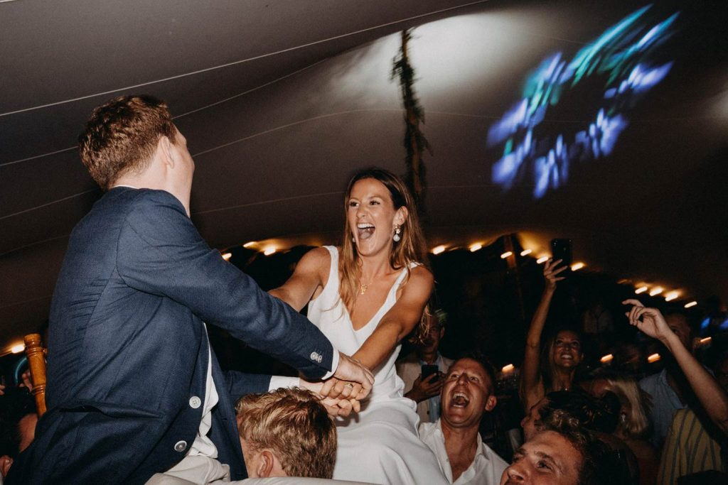 Happy bride during her party