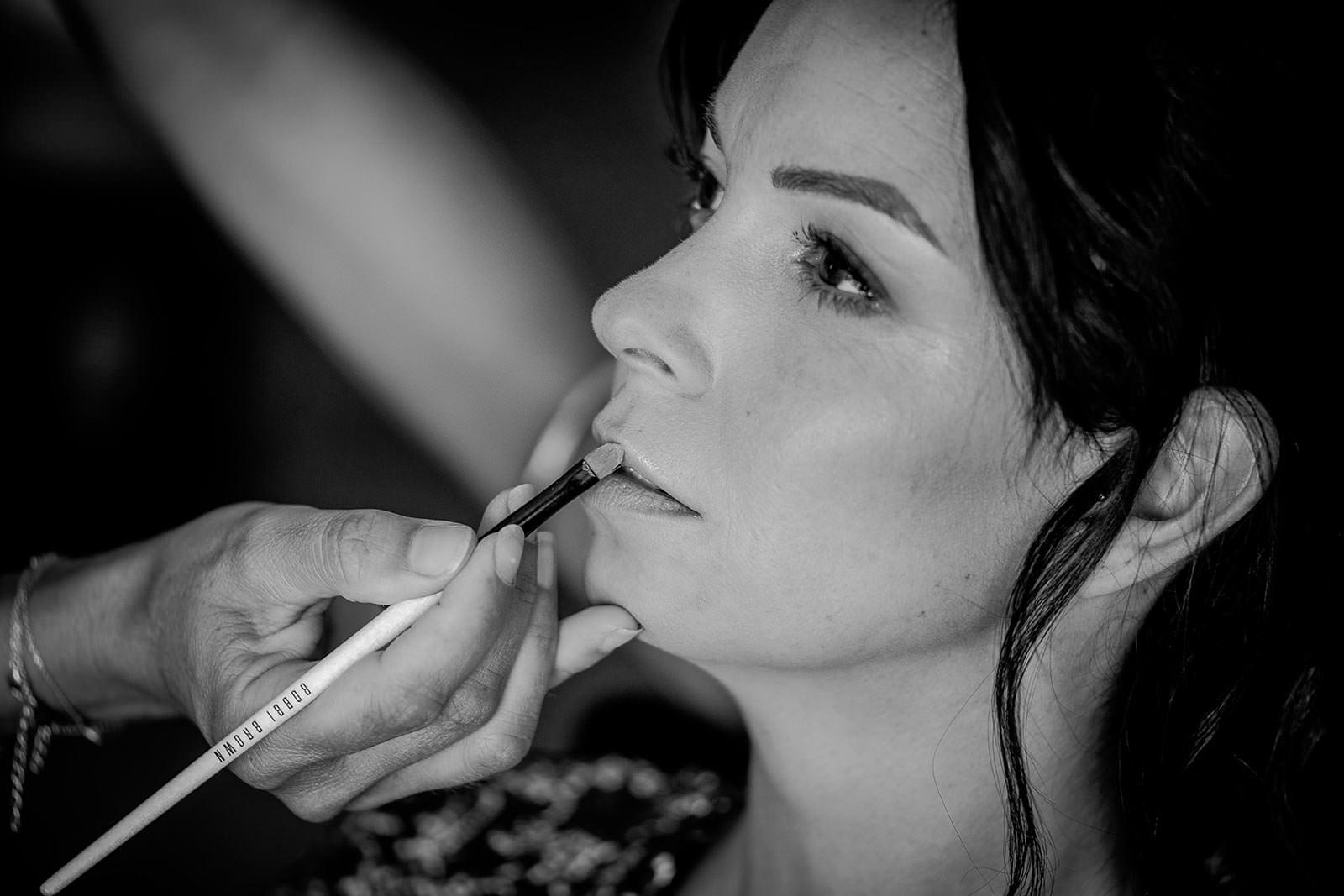 Maquillage bouche de la mariée