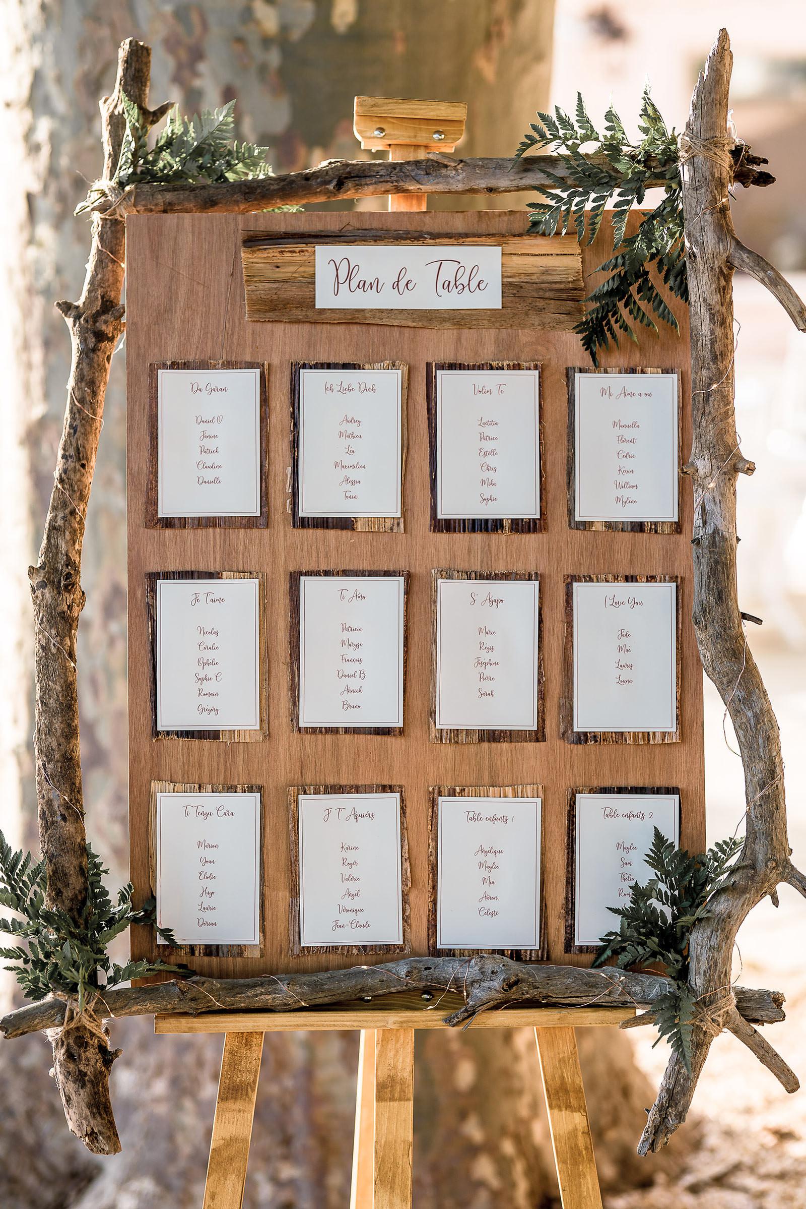 Plan de table thème nature